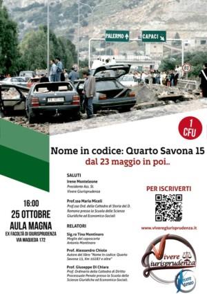 """Evento """"Nome in codice : quarto Savona 15 – dal 23 maggio in poi…"""""""
