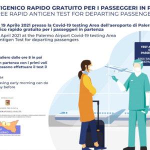 Da oggi tamponi rapidi gratis anche per i passeggeri in partenza dall'Aeroporto di Palermo